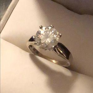 Jewelry - 10k white gold 2.00 white moissanite ring